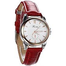 Avaner Women's Casual Red Leather Strap Watch Round Dial Arabic Numerals Analog Quartz Dress Wrist Watch