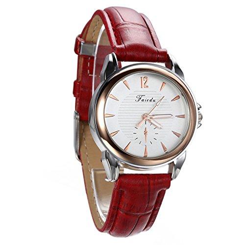 avaner Damen Casual rot Lederband Armbanduhr runden Zifferblatt arabische Ziffern Analog Quarz Kleid Armbanduhr