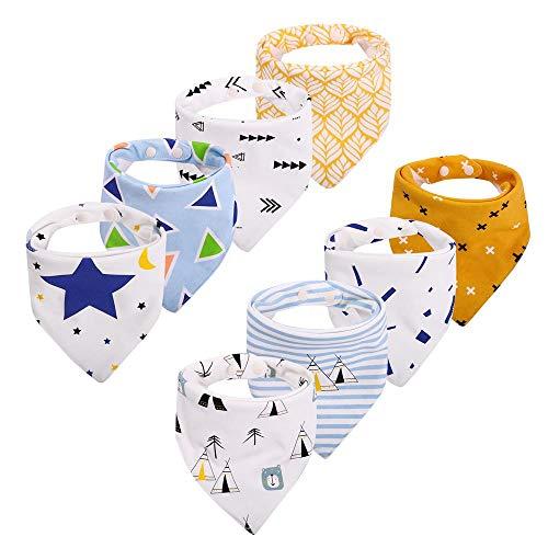 Baby Dreieckstuch Lätzchen Halstuch 8er Pack mit Druckknöpfen Baumwolle Weich Größenverstellbar Bestes Geschenk für Baby (3-24 Monate) von CITÉTOILE (Modell 1) (Modell 2) - Säuglings-baby-formel