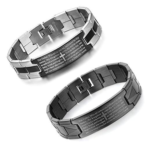 Aroncent 2 PCS Herren Armband, Charme Englisch Bibel Gebet Kreuz Edelstahl Armreif Armkette, Schwarz Silber