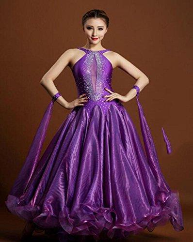 FGDJTYYJ Erwachsener moderner Tanz kostümiert Ballsaal-Tanzkleid, um den modernen Anzug des Schaukeldiamanten zu erhöhen, - Stoff Für Ballsaal Tanz Kostüm