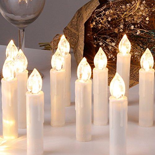 CCLIFE 20/30/40 Warmweiß/Kaltweiß LED Baumkerzen Lichterkette Weihnachtsbeleuchtung - Kabellos, Fernbedienung, Farbe:Beige, Größe:20er