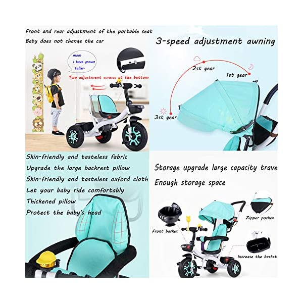 3 In 1 Childrens Tricycles 12 Months To 5 Years Stable Seat Can Be Adjusted Back Kids Tricycle Heigh Adjustable Handlebar Folding Sun Canopy Child Trike Maximum Weight 25 Kg,Gray BGHKFF ★{Material}: High carbon steel frame + environmentally friendly plastic, suitable for children from 1 to 5 years old, maximum weight 25 kg ★{3 in 1 multi-function}: Convertible to stroller and tricycle. Remove the hand putter and awning as a tricycle. ★{Safety Design}: Gold triangle structure, not easy to turn side down, skin-friendly safety Oxford cloth fabric, 360° safety fence, 3 adjustable awnings, effectively block UV rays, rear wheel double brakes, lock rear wheel 8