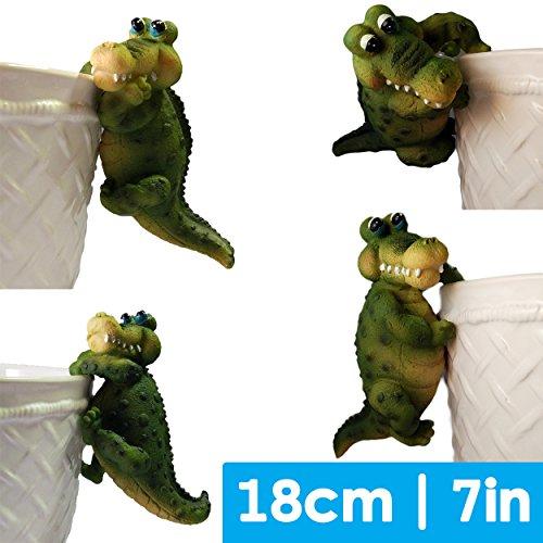 Preisvergleich Produktbild 4 x Hundespielzeug / Schwein Pflanztopf,  Krokodil-Aufhängung,  hochwertigem niedlichen Polyharz Harz Versiegelt-Souvenir Dekofigur,  Hangar für den Garten Gartenzwerg Dekoration Figur Skulptur Statue 13, 5 cm / 7 / 12