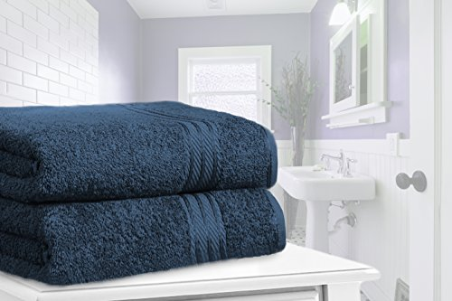 Knightsbridge Set de 2 toallas de baño Extra-Grandes de 100% Algodón Egipcio Peinado 500g/m2 Azul Marino