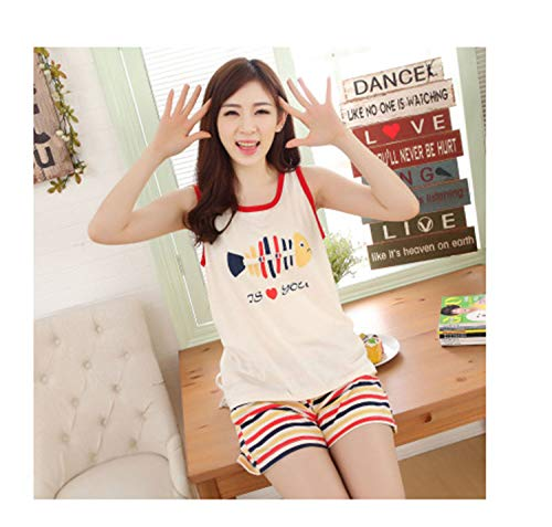 New New Summer Women's Cotton Pajamas Sets Young Ladies Sleepwear Female Pajama Sets Women Fashion Pyjamas Women 02 L