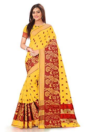 Royal Export Women's Cotton Silk Yellow Color Saree(more gold)