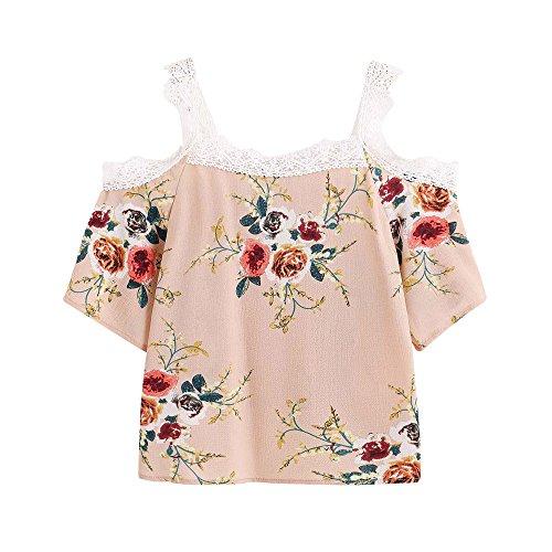 Damen Kurze Shirt, Sunday Kurzarmshirt Frauen Kurzarm Off Schulter Lace Floral Bluse Casual Tops T-Shirt Mode 2018 (S, Khaki) (Floral Stretch-riemen)