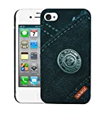Heartly Jeans Style Printed Design High Quality Hard Bumper Back Case Cover For Apple iPhone 4 4S 4G - Big Button