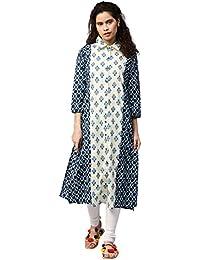 "Jaipur Kurti Women Booti Print Straight Fit 46"" Length Cotton Kurta (Blue)"