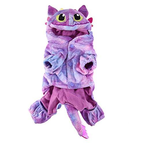 hongxyunf Charmantes Haustier Hund Katze Warme Koralle Samt Kostüme Fliege Drache Kostüm Halloween (Rosa Drachen Kostüm)