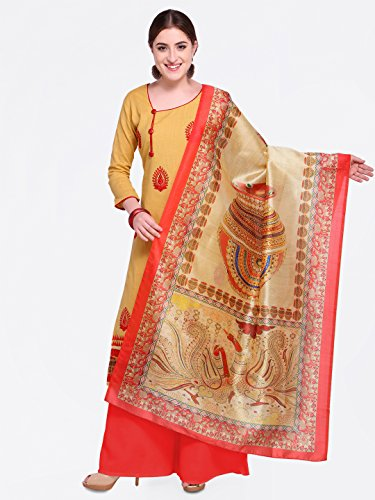 Blissta Women's Slub Cotton Embroidered Straight Dress Material with printed dupatta