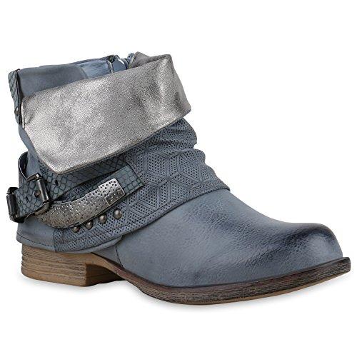 Stiefelparadies Damen Biker Boots Leder-Optik Stiefeletten Warm Gefütterte Booties Blockabsatz Winter Schuhe Winterboots Zipper Snake Print Flandell Blau Camiri