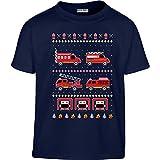KIDS Toller Feuerwehr Weihnachtspullover Kleinkind Kinder T-Shirt - Gr. 86-128 104 (3-4J) Marineblau