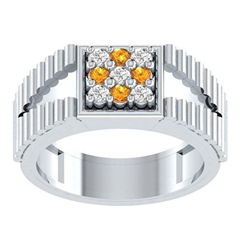Zierlich 0,22ct rund briiliant Schnitt Gelb Diamant Verlobungsring Hochzeit Band Ring in 925Sterling Silber