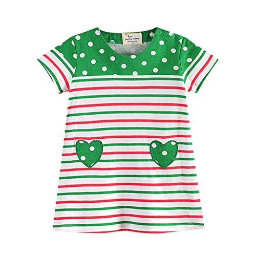 on Druck Streifen Kleid T-Shirt Top Bluse Kurzarm Shirt 1-6 Jahre (Grün, 1T) (Kleinkind Barbie Kostüm)