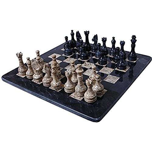 RADICALn 16 Inches Large Handmade Black And Coral Weighted Marble Full Chess  Game Set Staunton And Ambassador Style Marble Tournament Chess Sets  Non  Wooden ...