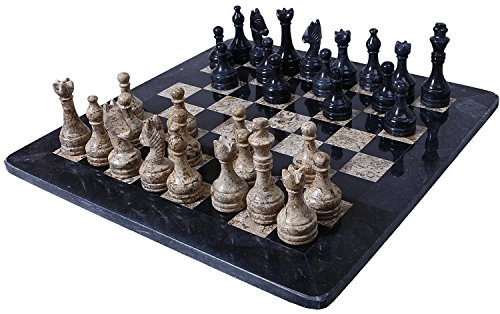 "Radicaln 16"" Handmade Black & Coral Weighted Marble Full Chess Game Set Tournament Sets 16 \""Handgemachte Black & Coral Weighted Marmor Voll Schachspiel Set Turnier Sets"