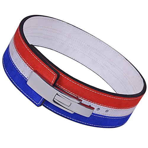 ARD-Champs 10mm Gewicht Power Lifting Leder Hebel Pro Gürtel Gym Training Rot, Weiß & Blau, Red,White & Blue -