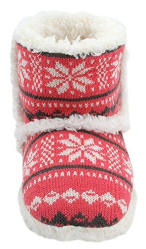 Slumberz Mesdames Chaussons en tricot Motif Jacquard Chaussons rose corail