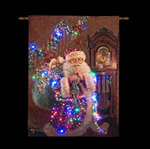 Santa With Sack and Gifts Lit Wall Tapestry (Battery Operated)