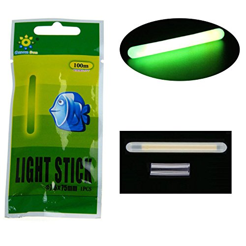 1002050Viel Bulk Glow Sticks für Angeln Posen Bobbers Angeln Luminous Stick Nachtlicht Zauberstab, Röhren grün fluoreszierenden Beleuchtung Stick, 10 Pcs 7.5*75mm