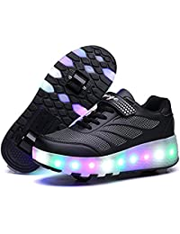 Tbbuy Unisex ni?os Luz LED Roller Skates Zapatos Patines regulables Rollerblades Patines en l¨ªnea Single Wheel Trainers Doble Sport Shoes
