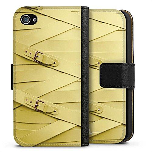Apple iPhone X Silikon Hülle Case Schutzhülle Fashion Mode Leder Sideflip Tasche schwarz