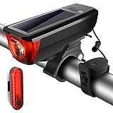 Wiederaufladbar Fahrradbeleuchtung mit Hupe, SGODDE 4 Beleuchtung-Modi und 5 Hupe-Modi mit 140 dB Fahrradlicht, USB & SolarWiederaufladbar Fahrradlampe, Powerbank Vorderlicht und Rücklicht Set