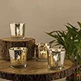 #6: Homesake Mercury Silver T-Light Holder, Glass Candle Holder Stand with Free Candle