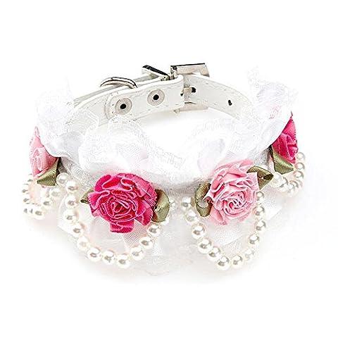 Fleur Collier Dentelle avec Perles D'imitation d'Animaux Chat Chien Chiot Ceinture Col - Blanc, S