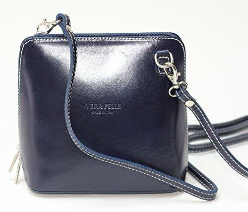 Italienische Leder Handtasche - Mini Schultertasche navy