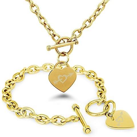 Placcato Oro Acciaio Inossidabile Cuore e Freccia Icona Inciso Modifica del Cuore Toggle Bracciale e la Collana