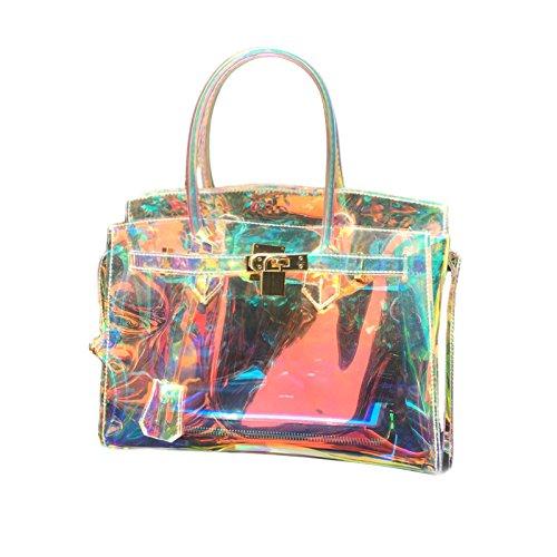 MDRW-Damen Handtaschen Laser Warf Schulter-Schulter-Rucksack Hand Neue Transparente Crystal Gelee,Gold,30Cm