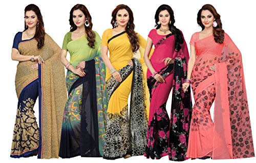 Ishin Combo of 5 Faux Georgette Multicolor Printed Women's Saree/Sari