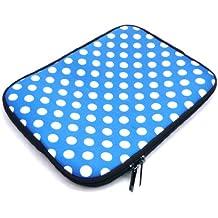 Emartbuy® Polka dot Azul / Agua Blanca Neopreno Resistente Caso Zip Soft Manga De La Case Case Carcasa Funda Funda Adecuada Para Samsung Galaxy Tab Pro 10.1 (10-11 Inch Ereader / Tablet / Netbook De)