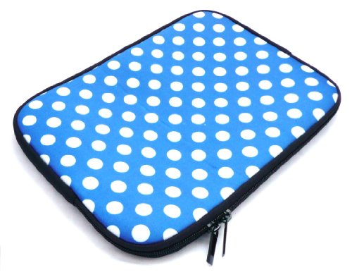 Emartbuy® Polka Dots Blau / Weiß Wasserabweisende Weiche Neopren Hülle Schutzhülle Case Cover mit Reißverschluss Amazon Fire HD 7 Tablet ( 7 Zoll eReader / Tablet / Netbook ) -