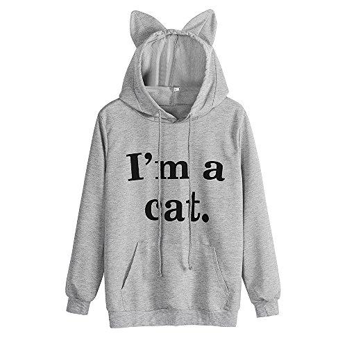ESAILQ Mode Frauen Cat Print Casual Tank Top Bluse Ärmelloses O-Ausschnitt T-Shirt (S, Grau-2)