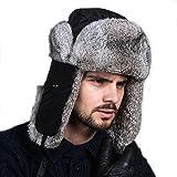 Ferand Cappello Unisex Adulto Trapper con Pelliccia di Coniglio para Sci Snowboard Inverno, Nero