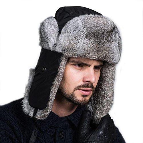 Ferand Pelzmütze Fellmütze mit Kaninchenpelz Unisex Russisch Bomber Hut, Schwarz (Russischen Hut Für Frauen)