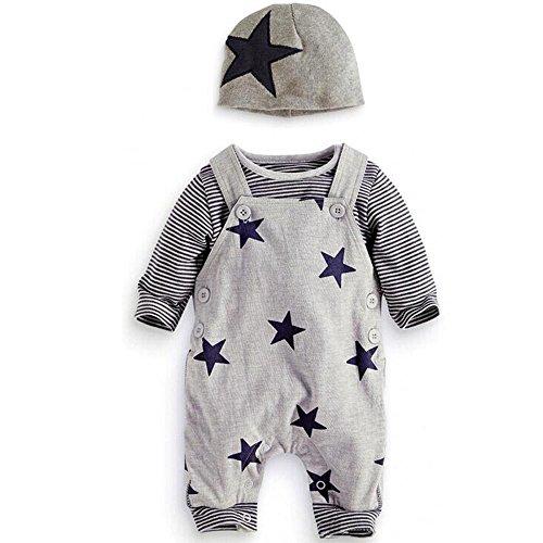 Culater Niedlich Neugeborenen Kleinkind Baby Jungen Mädchen Strampler + Hut Overall Bodysuit Kleidung Outfit Kleidung-Set+4PCS Fingerpuppen (0-3 Monate, Grau)