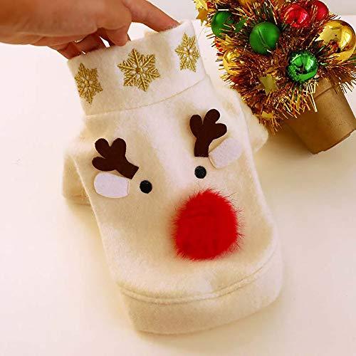 Kostüm Bichon - RONSHIN Weihnachten Pet Dress Kostüm für kleine Hunde Pommerschen Bichon Cats Winter Wear White M