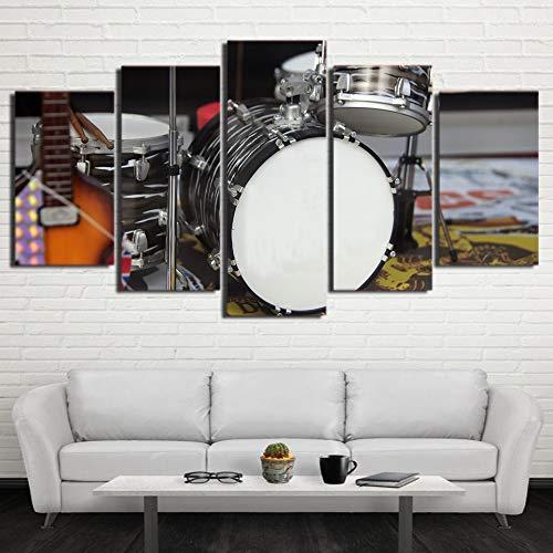 mmwin HD Leinwand Poster Moderne Dekoration Wandkunst 5 Panel Musikinstrument Trommel Wohnzimmer Gedruckt Bilder