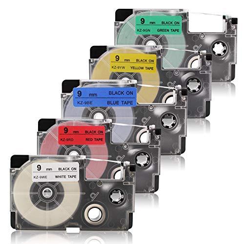 Labelwell 9mm x 8m 2 Rollen Kompatibel für Casio XR-9WE/XR-9RD/XR-9BU/XR-9YW/XR-9GN Schriftband Kompatibel für EZ-Label Casio KL-60 KL-820 KL-120 KL-7400 KL-HD1 KL-G2 KL-130 Beschriftungsgerät (Ez Tape)
