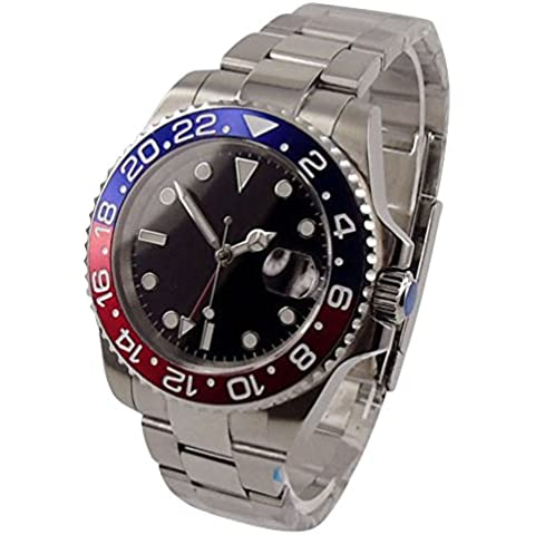 whatswatch 40 mm Parnis GMT Quadrante Nero Rosso Cornice Blu Data finestra automatico Mens Orologio pa-01179 - Automatico Blu Mens Watch
