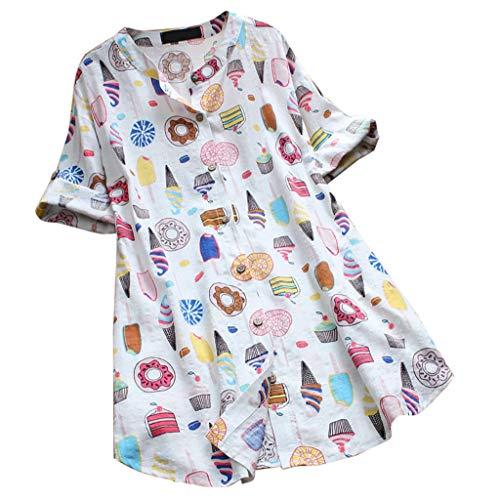dhals Dessertdruck Halbe Ärmel Lange Tops, Frauen Lässiges Hemd Sommer Bequeme Losen T-Shirt Leinen Atmungsaktives Oberteil Große Größe S-5XL ()