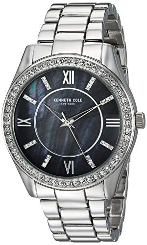 Kenneth Cole Women's Steel Bracelet & Case Quartz Black Dial Watch KC50739002