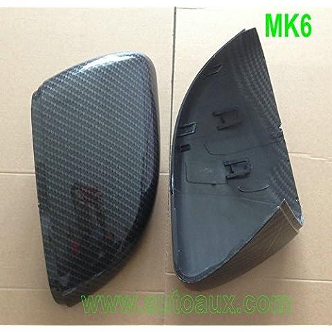 Un par de hydro-dipped ABS Espejo Retrovisor casos 1: 1(efecto de fibra de carbono) de reemplazo directo Fit VW Golf 7MK7R GTI