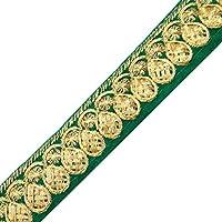 Cinta Bordada Verde Decorativa Artesanal De 2,5 Cm De Ancho Del Cordón De Terciopelo Por La Yarda