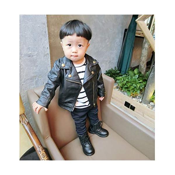 JiaMeng Ropa de Chaqueta Corta de Abrigo de Cuero para niños bebé Outwear de Viento de Imitación de Piel 4